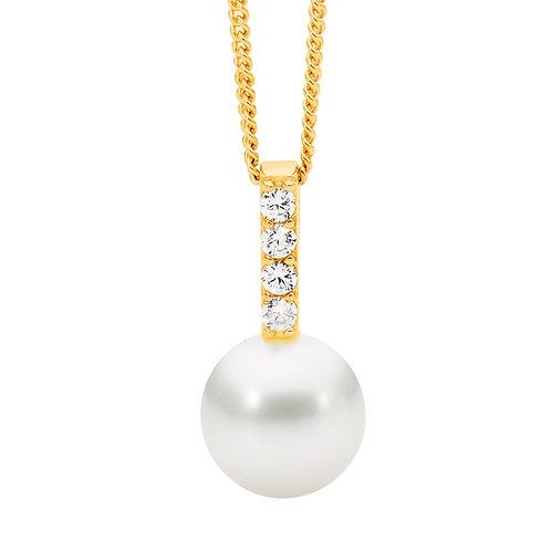 Ellani P822G Freshwater Pearl & CZ Drop Pendant Gold
