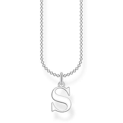 "Thomas Sabo KE2028-001-21 L45V Sterling Silver Necklace ""S"" Initial"