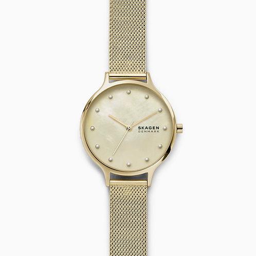 Skagen SKW2774 Anita Mother-of-Pearl Gold-Tone Steel-Mesh Watch