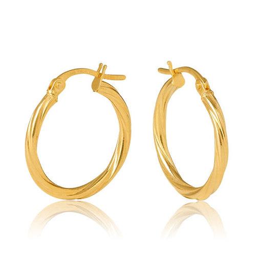 9ct Yellow Gold Twist 2mm Tube Hoop Earring 15mm Diameter
