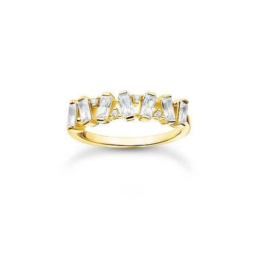 Thomas Sabo TR2346Y-54 Yellow Tone 'Dancing' CZ Ring