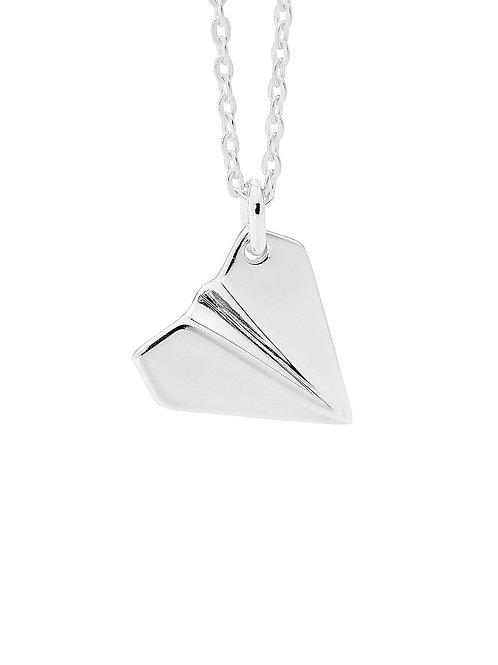 Pastiche J886_45 Paper Plane Necklace Silver