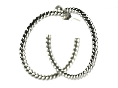 Indiri E214 SURA Round Twisted Wire Hoop Earrings