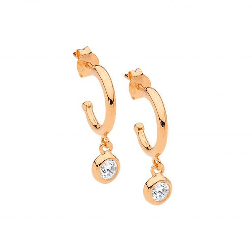 Ellani E537R Hoop Earring with Bezel CZ Drop Rose
