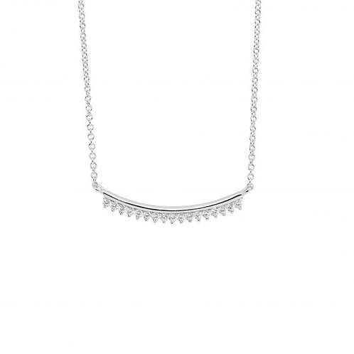 Ellani P844S Curved Bar CZ set Necklace Silver