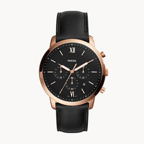Fossil FS5381 Neutra Chronograph Black Leather Watch