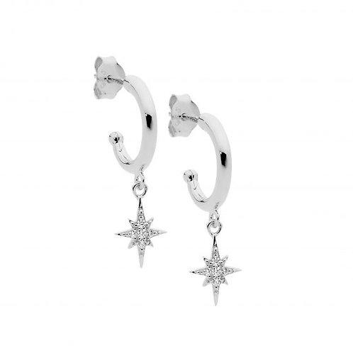 Ellani E545S Hoop Earring with Star Drop CZ Silver