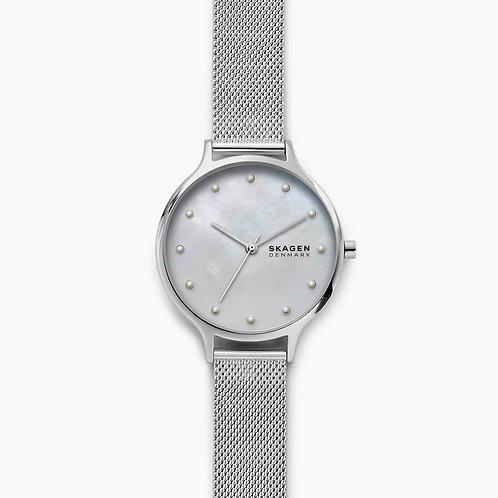Skagen SKW2775 Anita Mother-of-Pearl Silver-Tone Steel-Mesh Watch