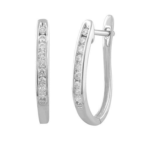 IGE-6159 - 9ct White Gold Diamond Huggie Earrings