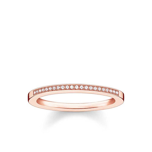 "Thomas Sabo D_TR0006-54 Rose Tone ""Diamond"" Ring"
