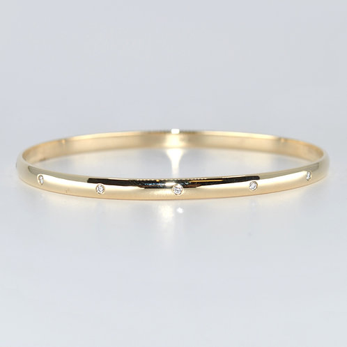 J015Y 9ct Yellow Gold Solid Diamond Bangle