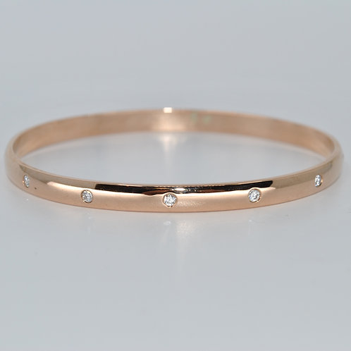 J012R 9ct Rose Gold Solid Diamond Bangle