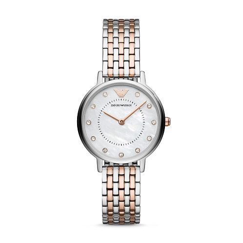 Emporio Armani AR11094 Ladies Classic Two-Tone Mother-of-Pearl Watch