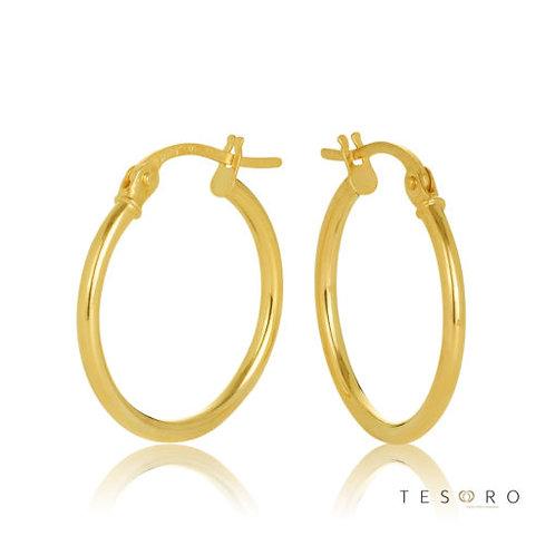 9ct Yellow Gold 'Eboli' 1.5mm Round Tube Hoop Earring 15mm Diameter