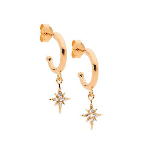 Ellani E545R Hoop Earring with Star Drop CZ Rose