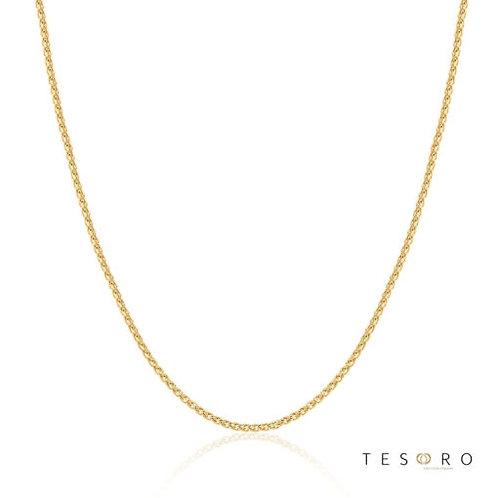 "9ct Yellow Gold ""Trezzo"" 1.2mm Diamond Cut Magic Wheat Adjustable Chain 50cm"