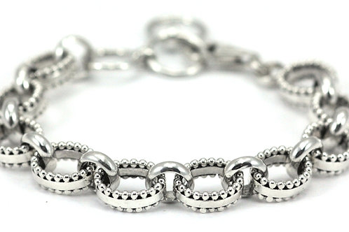 Indiri B111 INDA Sterling Silver Thick Bead Bracelet