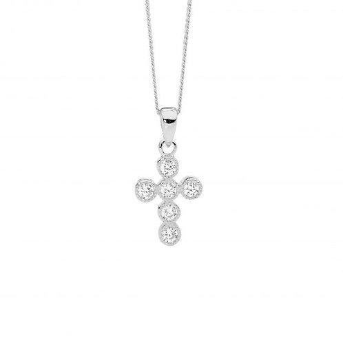 Ellani P842S Cross CZ Pendant Silver