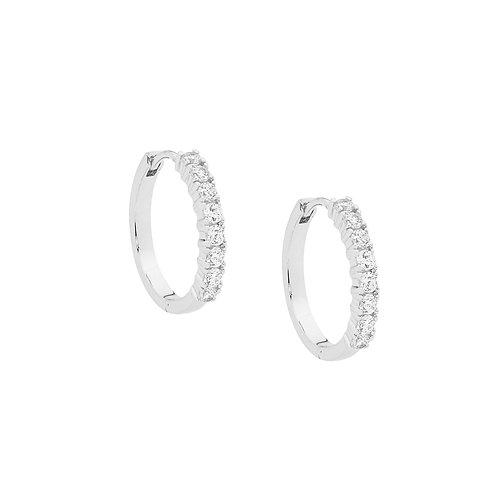 Ellani E391S Claw Set CZ Huggie Earrings Silver