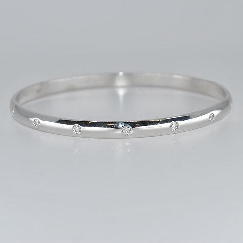 J013W 9ct White Gold Solid Diamond Bangle