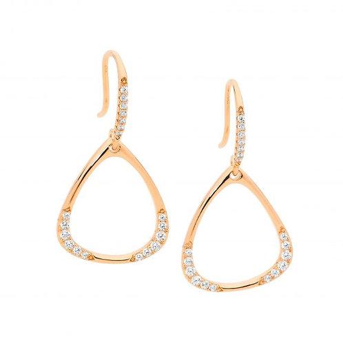 Ellani E543R Drop Open Triangle CZ Earring Rose
