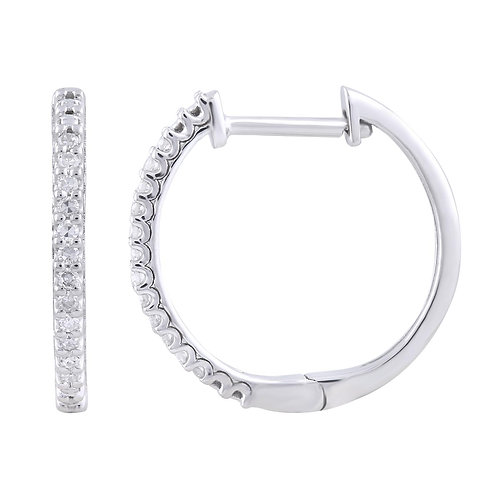 IGE-13278 - 9ct White Gold Diamond Huggie Earrings