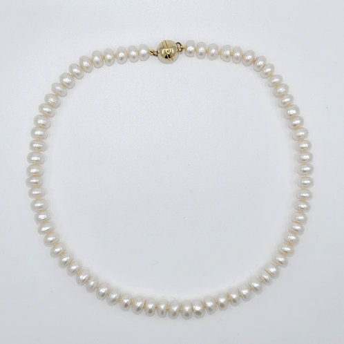 J034P Freshwater Button Pearl and Yellow-Tone Necklace