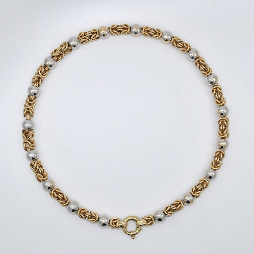 J027YW 9ct 2-Tone Gold Necklace Yellow/White