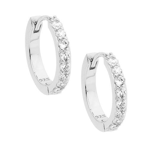 Ellani E512S Claw Set CZ Hoop Earring Silver