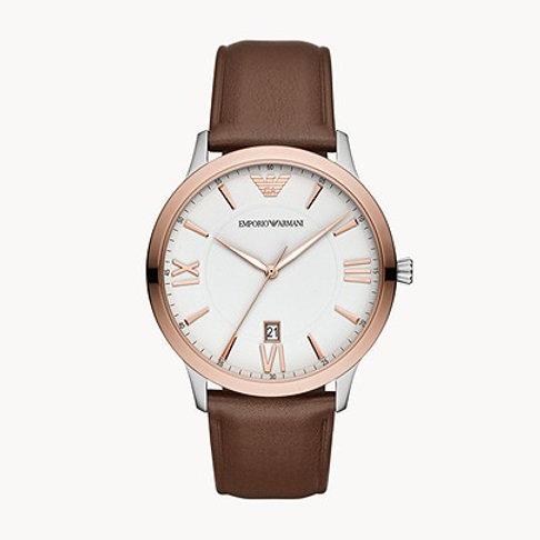 Emporio Armani AR11211 Men's Three-Hand Date Brown Leather Watch