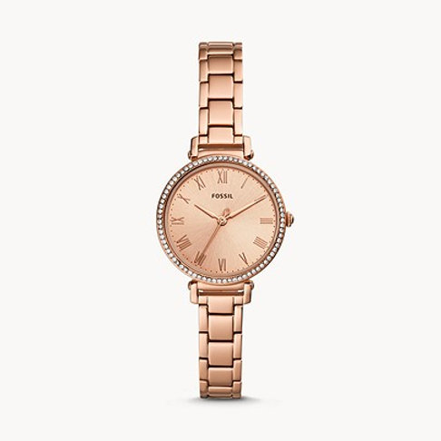 Fossil ES4447 Kinsey Three-Hand Rose Gold-Tone Watch