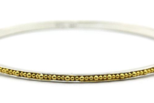Indiri B299G INDA Thin Bead Bangle Silver/Yellow