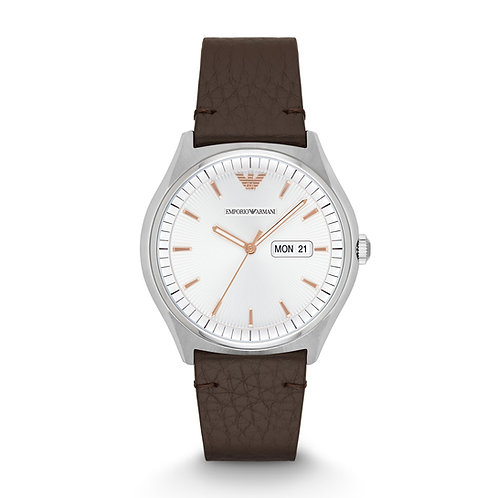 Emporio Armani AR1999 Zeta White Dial Dark Brown Leather Watch