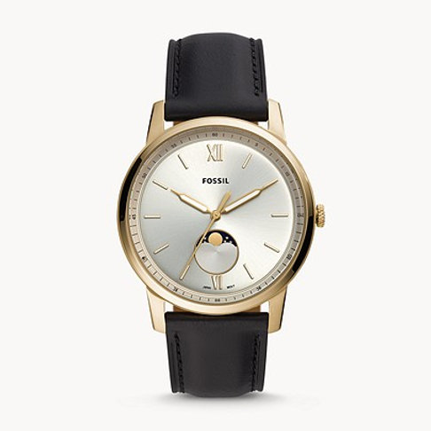 Fossil FS5571 The Minimalist Moonphase Three-Hand Black Leather Watch