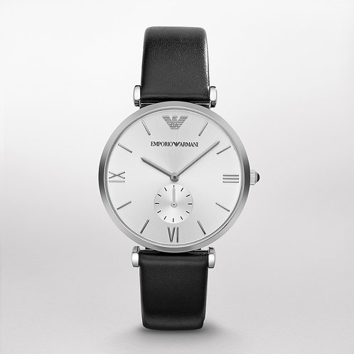 Emporio Armani AR1674 Retro Black Leather Watch
