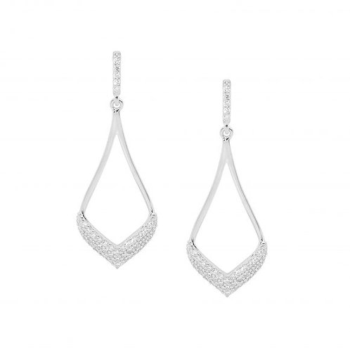 Ellani E536S Open Tear Drop CZ Earrings Silver