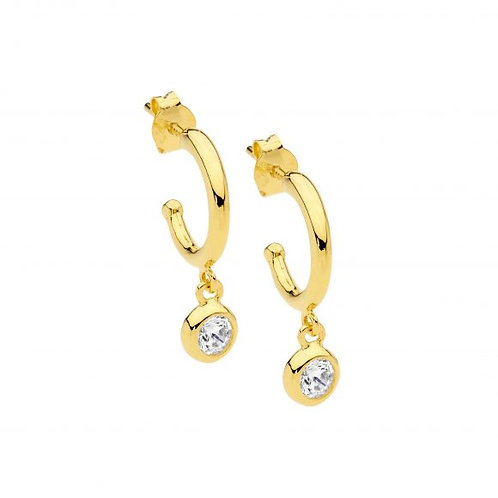 Ellani E537G Hoop Earring with Bezel CZ Drop Yellow