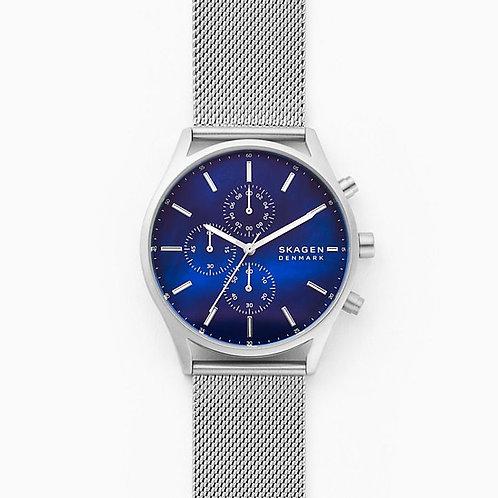 Skagen SKW6652 Holst Chronograph Silver-Tone Steel-Mesh Watch