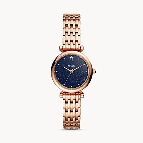 Fossil ES4522 Carlie Mini Three-Hand Rose Gold-Tone Watch