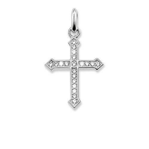 "Thomas Sabo KC0007 Sterling Silver Cubic Zirconia Set ""Cross""Pendant"