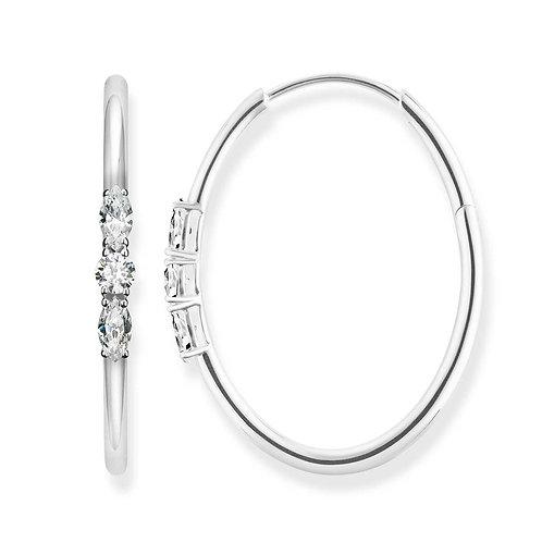 "Thomas Sabo CR633-051-14 Sterling Silver Hoop Earrings ""Royalty White"""