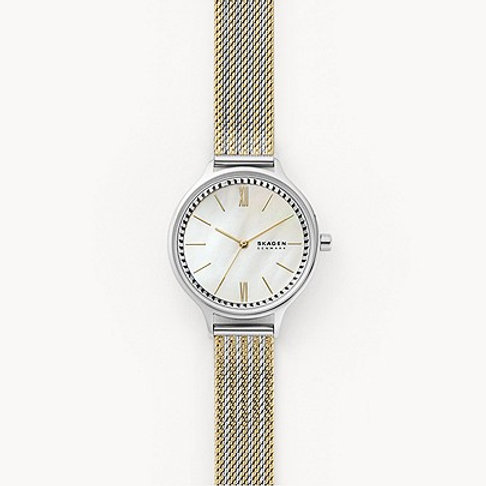 Skagen SKW2908 Anita Three Hand Gold-Tone Steel-Mesh Watch