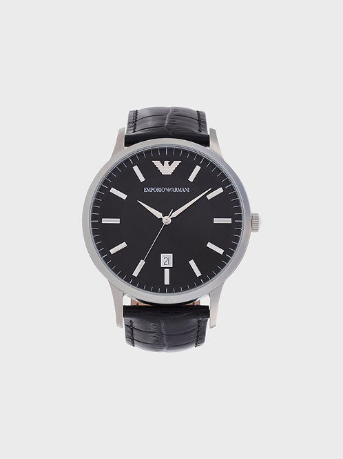 Emporio Armani AR11186 Men's 43mm Classic Black Leather Watch
