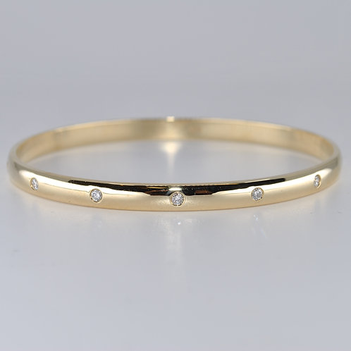 J011Y 9ct Yellow Gold Solid Diamond Bangle