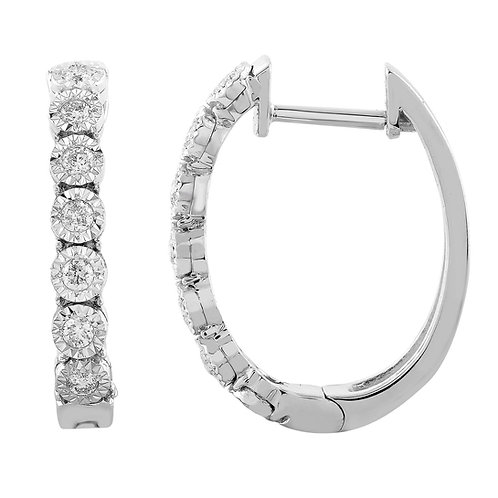 E-11390 - 9ct White Gold Diamond Huggie Earrings