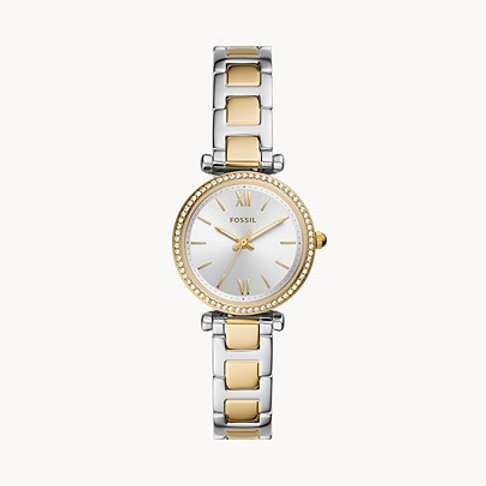 Fossil ES4955 Carlie Mini Three-Hand Two-Tone Stainless Steel Watch