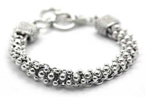 Indiri B121 INDA Sterling Silver Beaded Link Bracelet