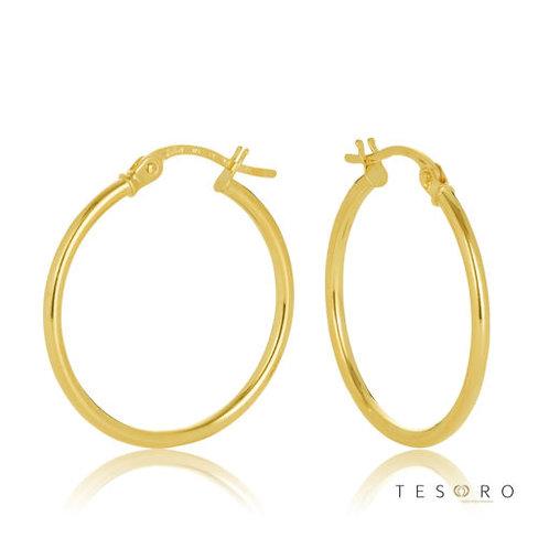 9ct Yellow Gold 'Eboli' 1.5mm Round Tube Hoop Earring 20mm Diameter