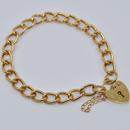 J006Y 9ct Yellow Gold Hollow Curb Padlock Bracelet