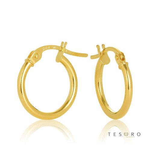 9ct Yellow Gold 'Eboli' 1.5mm Round Tube Hoop Earring 10mm Diameter